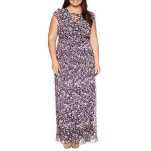 Plus Size Maxi Dress Pleated Floral New 3X women